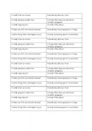 English Worksheet: Base and Strong Adjectives Game