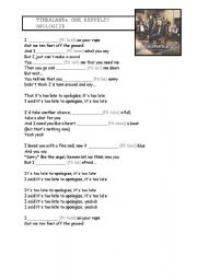 English Worksheet: Apologize Song for Present Simple and Continuous