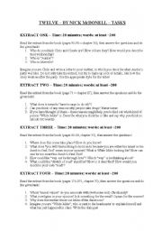 English Worksheets: Twelve by Nick McDonell - writing tasks
