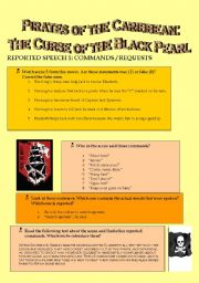 English Worksheet: PIRATES OF THE CARIBBEAN: THE CURSE OF THE BLACK PEARL.- Reported Speech 1