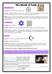 English Worksheets: The World of Faith with exercise