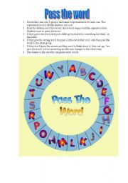 English Worksheets: PASS THE WORD (PASAPALABRA)