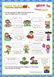 English Worksheet: Back to school series  - Personal Identification  -  Asking basic questions  (2/2)