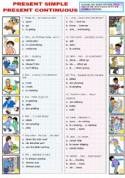 English Worksheet: PRESENT SIMPLE OR CONTINUOUS -MULTIPLE CHOICE (B&W VERSION INCLUDED)