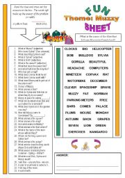 English Worksheet: Fun Sheet Theme: Muzzy