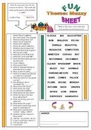 English Worksheets: Fun Sheet Theme: Muzzy