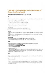 English Worksheets: Prepositions & Conjunctions of Time - by_from_until