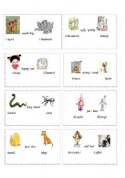 English Worksheets: Flashcards-Comparison 1/ 2
