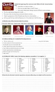 English Worksheet: movie Charlie and the Chocolate Factory