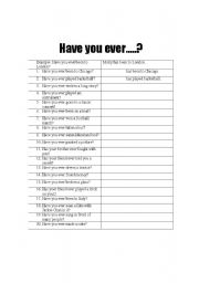 English Worksheets: Have you ever...??