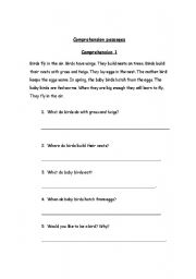 English worksheets: Comprehension Passages with questions for Grade 1