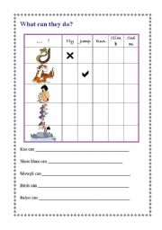 English Worksheets: whatcan they do?