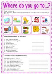 English Worksheet: WHERE DO YOU GO TO... ? 2/3
