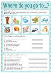English Worksheet: WHERE DO YOU GO TO... ? 3/3