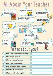 English Worksheet: All About Your Teacher Adult Version