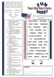 Fun Sheet Theme: United States of America