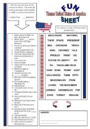 English Worksheet: Fun Sheet Theme: United States of America