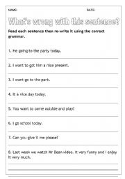 English Worksheets: What�s wrong with this sentence?