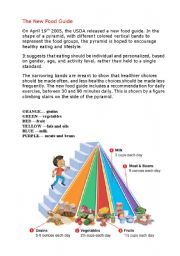 English Worksheet: New Food Pyramid Guide and with the questions -1