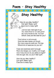 English Worksheet: Stay Healthy -Food and Nutruitions