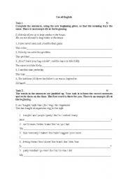 English Worksheets: Use of English and Writing