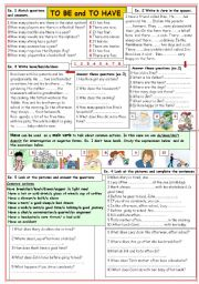 English Worksheet: To be and To have
