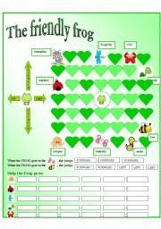 English Worksheets: Give the friendly frog directions!