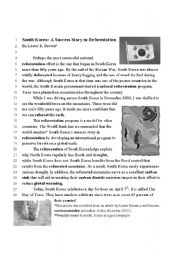 English Worksheet: South Korea and the Day of the Trees