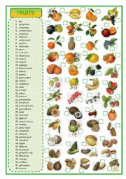 English Worksheet: Fruits - matching exercise
