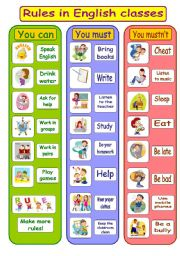 English worksheet: Rules in English classes - poster