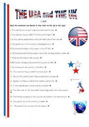 English Worksheet: Th Usa and Uk - quiz 1