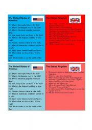 English Worksheet: The USA / The UK quiz 1