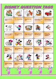 English Worksheet: Disney Question Tags
