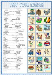 English Worksheets: Test  your English 3