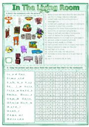 English Worksheet: Match & Find - In The Living Room