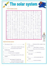 English Worksheet: The solar system wordsearch : planets and more