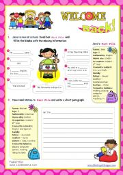 English Worksheet: Back to school  -  Prewriting (sentence completing) + Writing (a short paragraph) + Speaking activity (presenting their work)