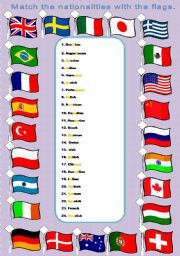 English Worksheet: Nationalities and Flags