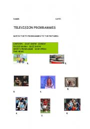 English Worksheets: whats on tv?