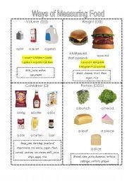 ways of measuring food reference sheet esl worksheet by liquidnuance. Black Bedroom Furniture Sets. Home Design Ideas