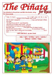 English Worksheets: The Piñata for Ruca - reading comprehension (Two pages)