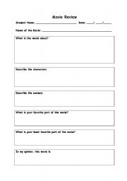 movie review sheet esl worksheet by timoteodl. Black Bedroom Furniture Sets. Home Design Ideas