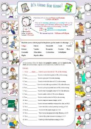 English Worksheets: It�s time for time! (part I )