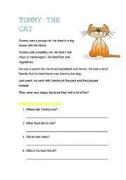 English Worksheets: Tommy the cat