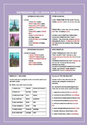 English Worksheets: EXPRESSING INCLUSION AND EXCLUSION