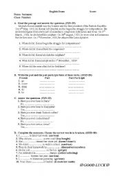 English worksheet: an exam