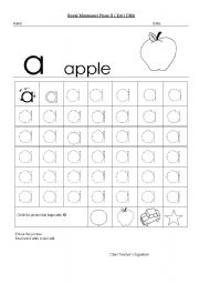 English worksheets: Worksheet of alphabet a apple