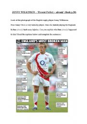 English Worksheet: He has injured himself (rugby player Jonny Wilkinson)