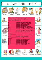 English Worksheets: WHAT�S THE JOB ?