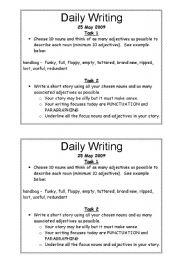 English worksheet: daily writing task